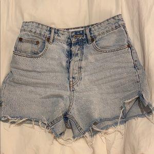 Zara high waisted denim cut off shorts